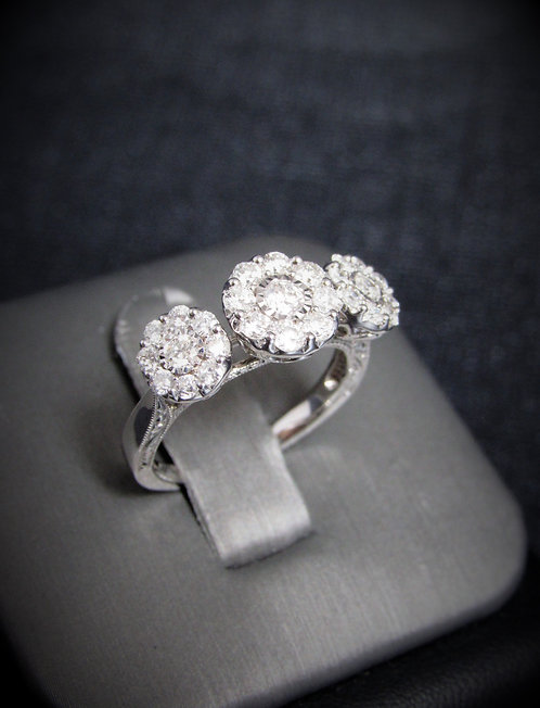 14KT White Gold Diamond Cluster Style Engagement Ring