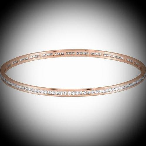 14KT Rose Gold Diamond Eternity Stackable Bangle Bracelet