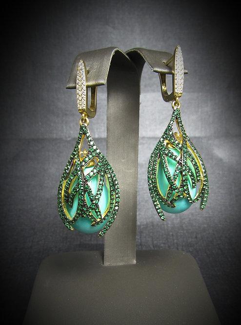 Pear Shape Large Drop Turquoise & Tsavorite Earrings in Sterling Silver &14K