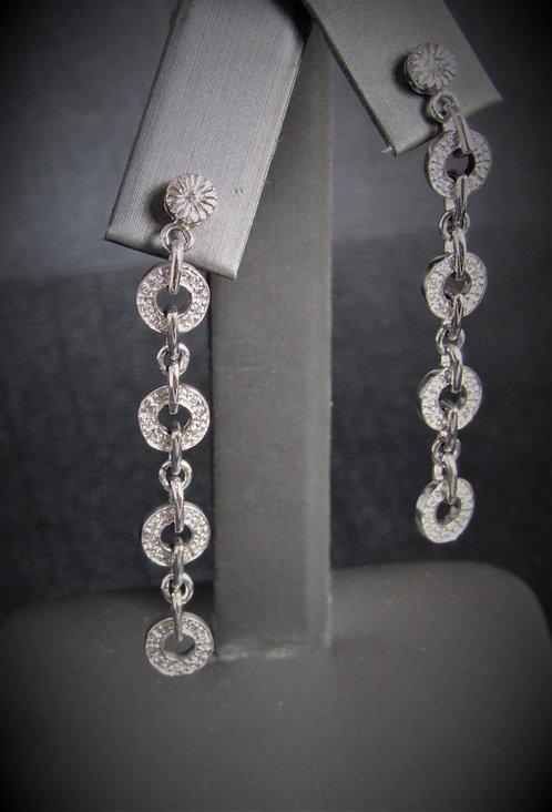 18KT White Gold Diamond Long Earrings