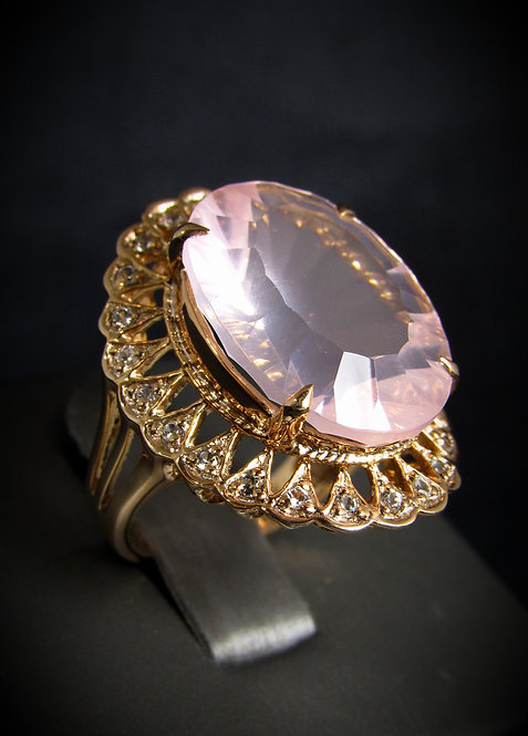 Oval Shape Pink Quartz & White Topaz 14KT Rose Gold Plated Sterling Silver Ring