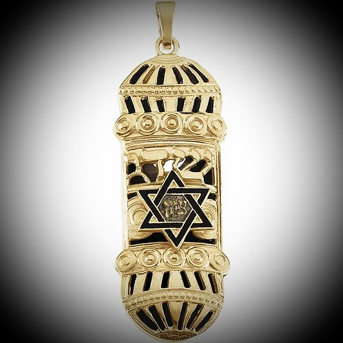 14KT Yellow Gold With Enamel Mezuzah Pendant