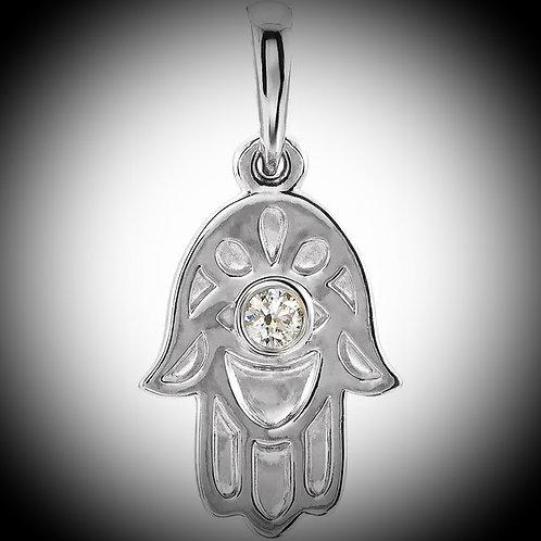 14KT White Gold Diamond Hamsa Pendant