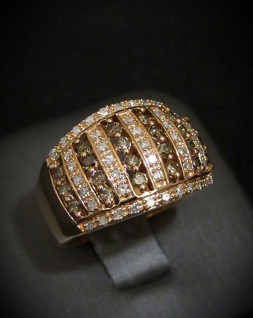 White & Chocolate Diamonds 14KT Rose Gold Plated Sterling Silver Ring
