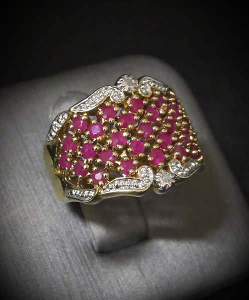 Rubies & Diamonds 18KT Yellow Gold Plated Sterling Silver Ring
