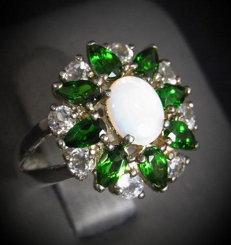 Opal, Tsavorite, & White Sapphires 18KT Gold Plated Sterling Silver Ring
