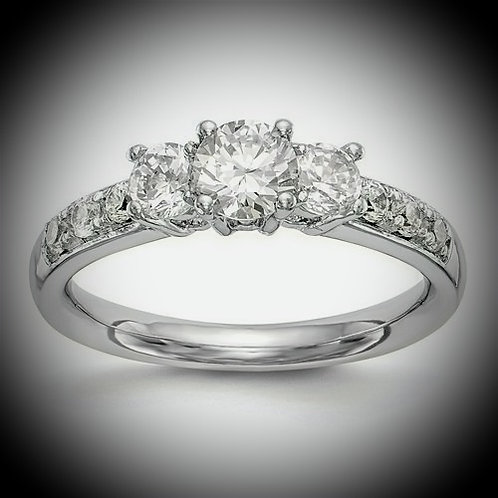 14K White Gold 3-Stone Diamond  Engagement Mounting