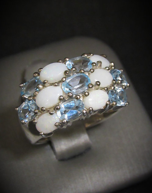 White Opal & Blue Topaz 18KT Gold Plated Sterling Silver Ring