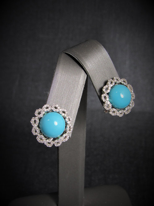 18KT White Gold Diamond And Turquoise Earrings