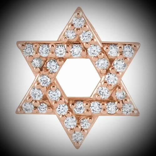 14KT Rose Gold Diamond Star Of David Pendant