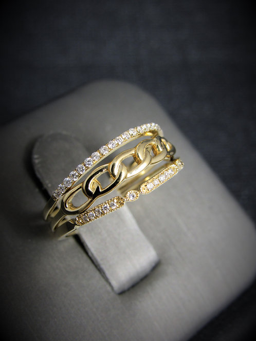 14KT Yellow Gold Diamond Three Rings in One Ring