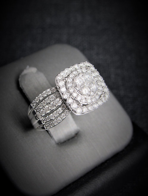 14KT White Gold Diamond Cluster Halo-Style Engagement Ring