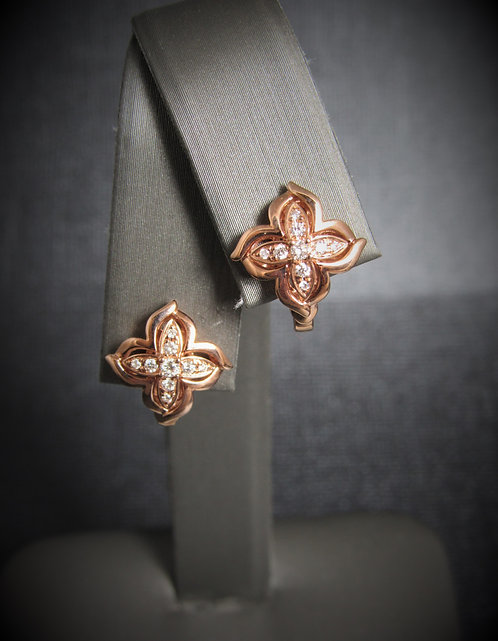 14KT Rose Gold Diamond Clover Earrings