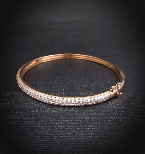 Pavé White Topaz & 18KT Rose Gold Plated Sterling Silver Bangle