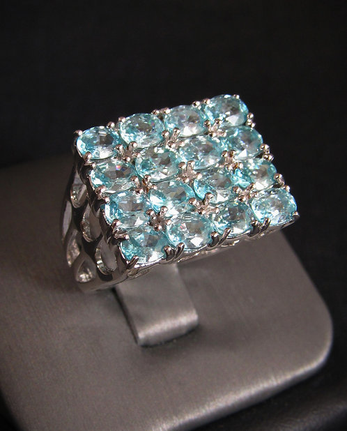 Square Aquamarine 18KT Gold Plated Sterling Silver Ring