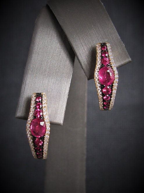 14KT Yellow Gold Diamond And Ruby Earrings