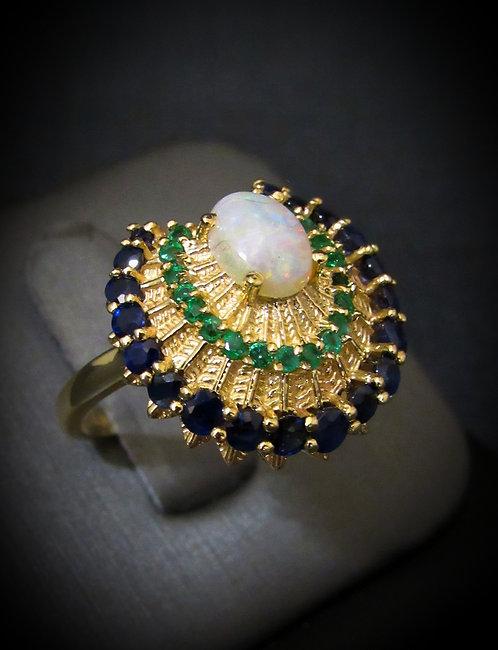 Art Deco 14KT Yellow Gold Opal, Sapphire, & Emerald Antique Ring
