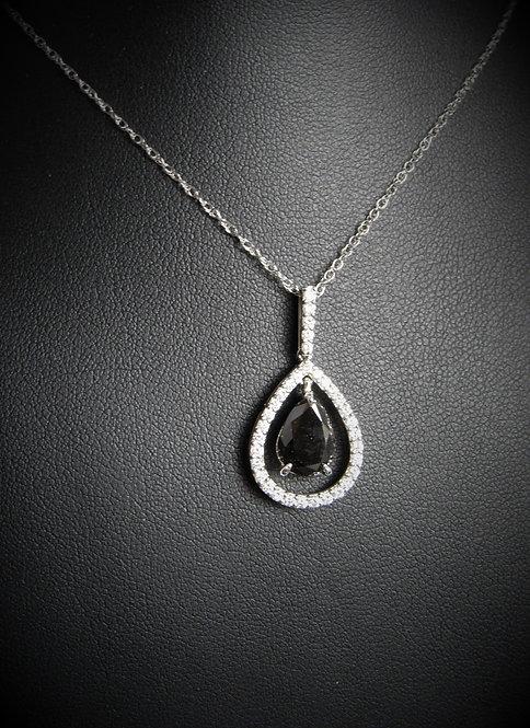 14KT White Gold Black Diamond Tear Shape Pendant