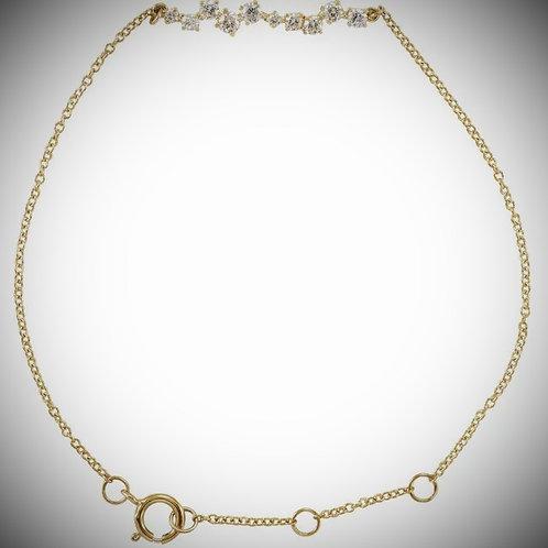 14KT Yellow Gold Diamond Bar Chain Bracelet