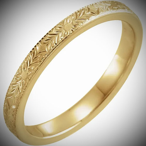 14KT Yellow Gold Engraved Design Band