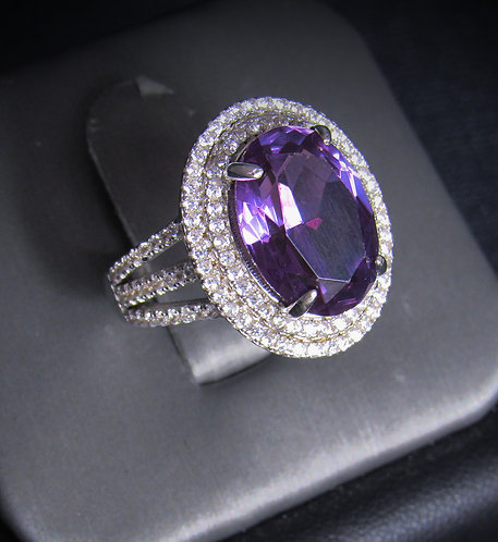 Oval Amethyst & White Topaz 18KT Gold Plated Sterling Silver Ring