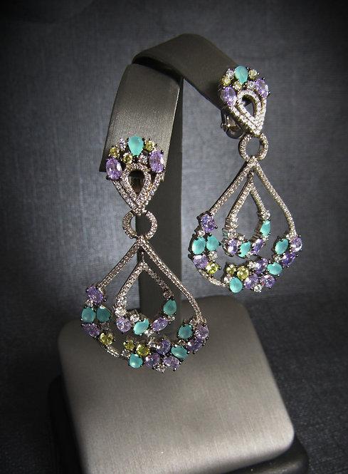 Multigem Pear Drop Sterling Silver Earrings
