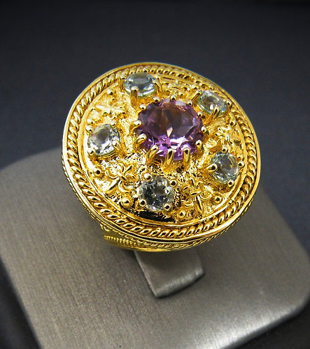 Amethyst & Blue Topaz 18KT Gold Plated Sterling Silver Ring
