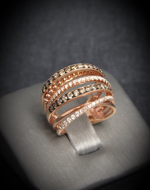 14KT Rose Gold White And Champagne Diamonds Multi-Row Ring