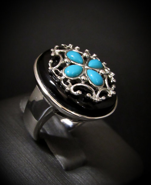 Turquoise & Black Onyx Clover 18KT Gold Plated Sterling Silver Ring