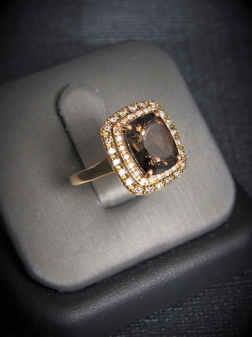 14KT Rose Gold Champagne Diamond And Smoky Topaz Ring