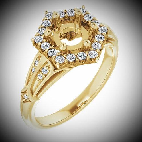 14K Yellow 6.5 mm Round 1/3 CTW Diamond Semi-Set Engagement Ring