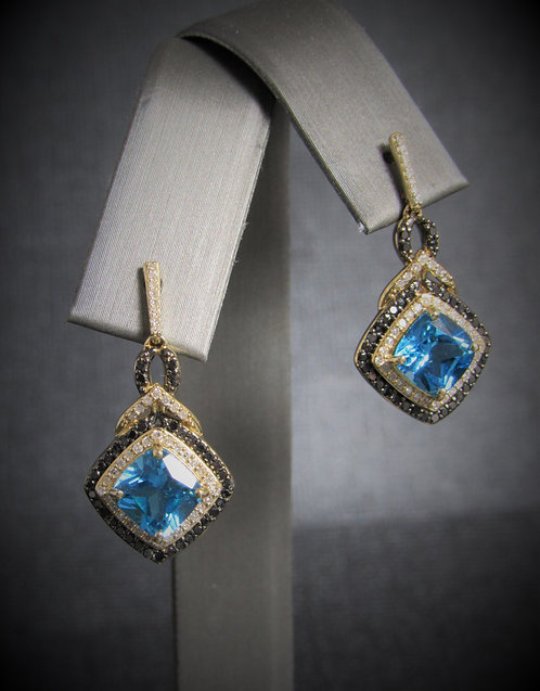 14KT Yellow Gold Diamond And BlueTopaz Earrings