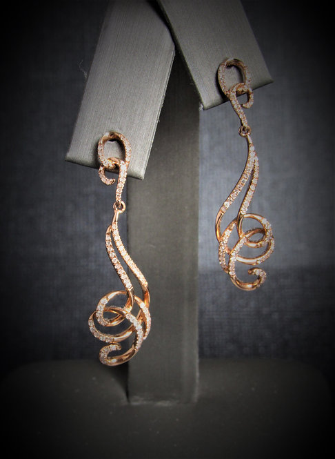 14KT Rose Gold Diamond Swirl Drop Earrings
