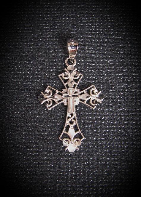 14KT White Gold Medium Filigree Cross Pendant