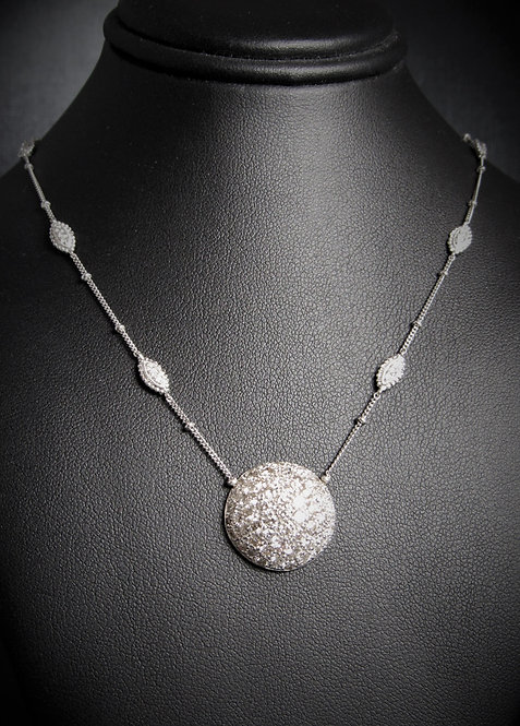 18KT White Gold Diamond Pave Style Necklace