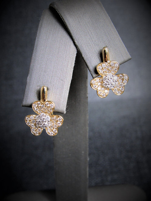 14KT Yellow And White Gold Diamond Flower Earrings