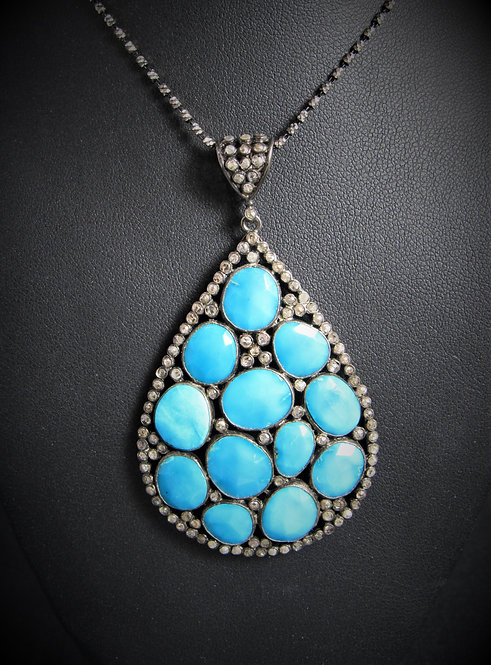 '925 Sterling Silver Diamond And Turquoise Pendant