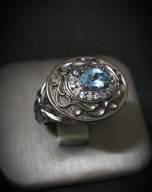 Blue Topaz Filigree Oxidized Sterling Silver Ring