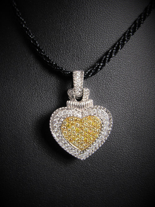 18KT White And Yellow Gold White And Yellow Diamond Heart Pendant