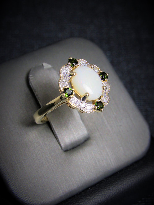 14KT Yellow Gold Diamond Opal And Tsavorite Ring