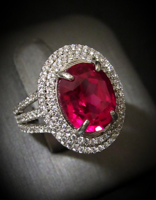 Pink Topaz & White Topaz 14KT Gold Plated Sterling Silver Ring