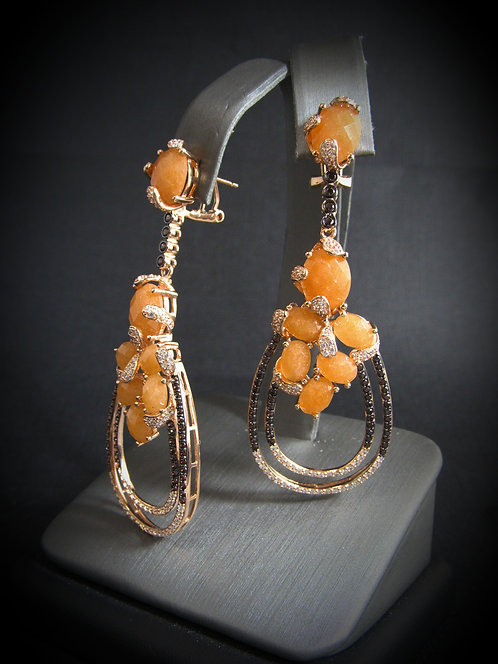 Orange Aventurine,  Smoky Topaz, & White Topaz 14KT Rose Gold Plated Earrings