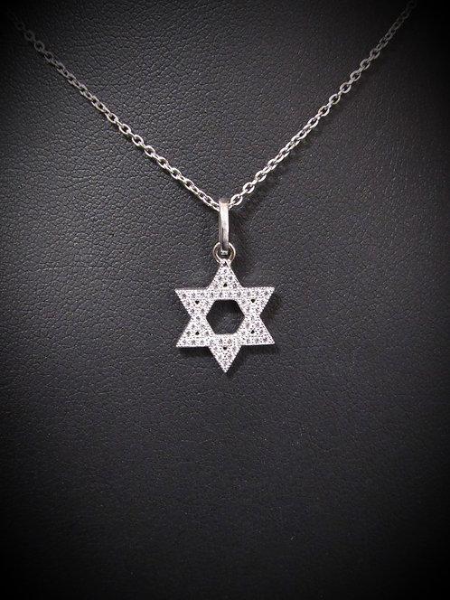 Sterling Silver Pavé Cubic Zirconia Star Of David Necklace