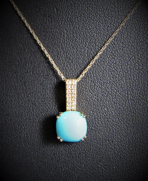 10KT Yellow God Diamond And Turquoise Pendant