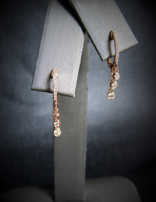 14KT Rose Gold Diamond Hoop Drop Earrings