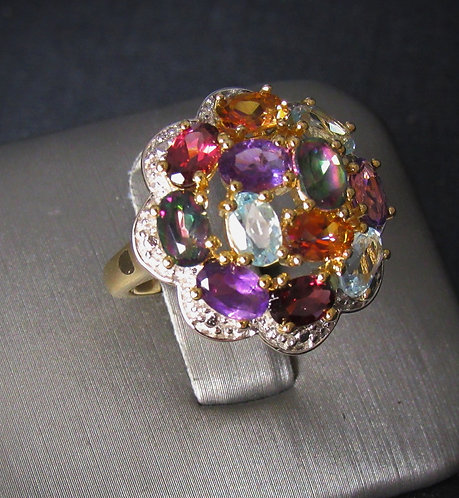 Large Cluster Multigem 18KT Yellow Gold Sterling Plated Silver Ring