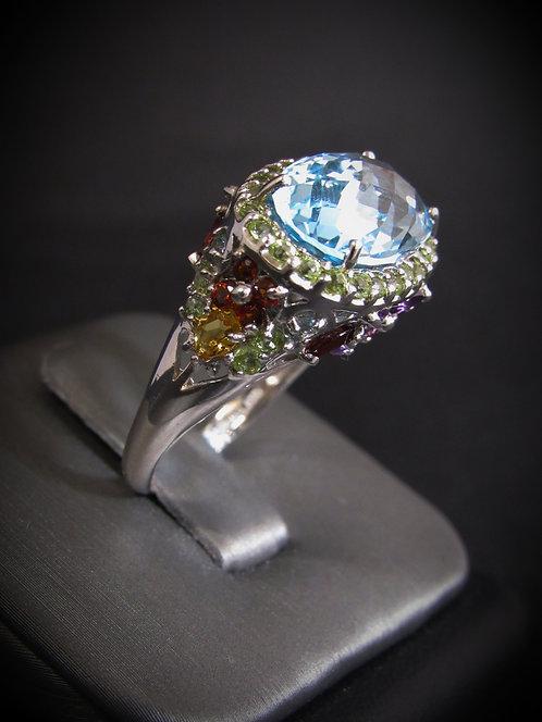 Blue Topaz & Amethyst Multigem Butterfly 14KT Gold Plated Sterling Silver Ring
