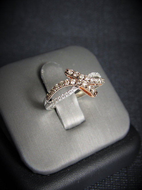 14KT White And Rose Gold Champagne And White Diamond Ring