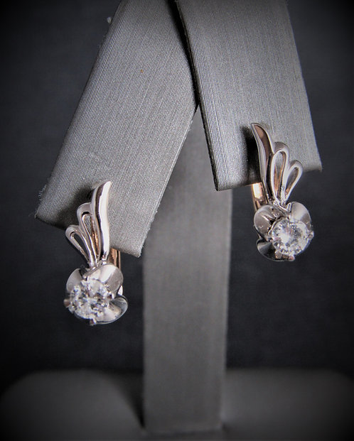 14KT Rose And White Gold Diamond Classic Style Earrings