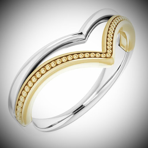 14KT White And Yellow Gold Beaded V Ring